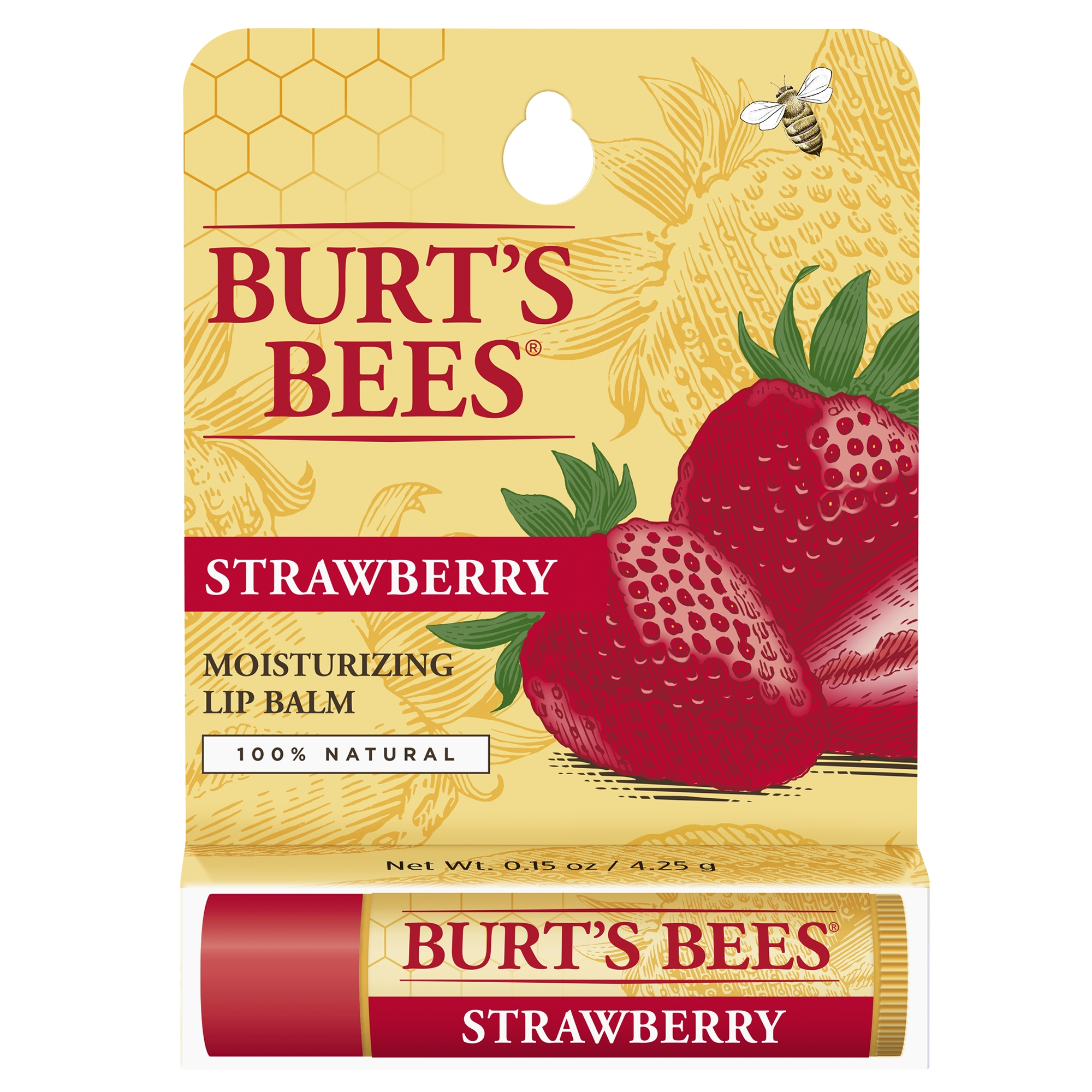 Burt's Bees 100% Natural Moisturizing Lip Balm, Strawberry with Beeswax & Fruit Extracts - 1 Tube