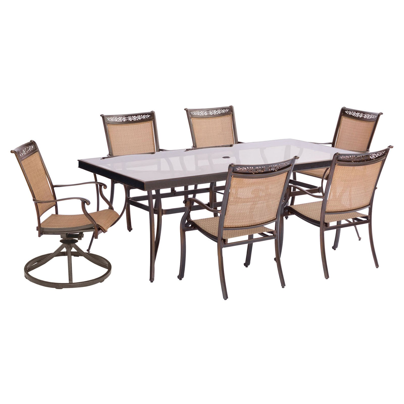 Hanover Fontana 7-Piece Outdoor Dining Set with 4 Stationary Chairs, 2 Swivel Rockers and Glass-Top Table