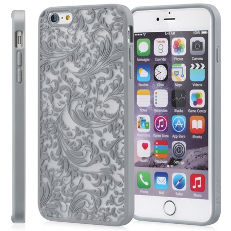 """iPhone 6/6s (4.7"""") Case - VENA [TACT] Quill Ultra Hard Durable Rubberized Slim Fit Design Pattern Cover - Silver - image 1 of 1"""