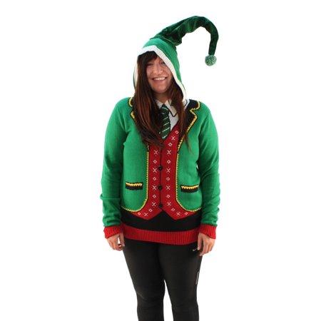 Ugly Christmas Sweater Plus Size Women's Head Elf Boss Suit Hooded