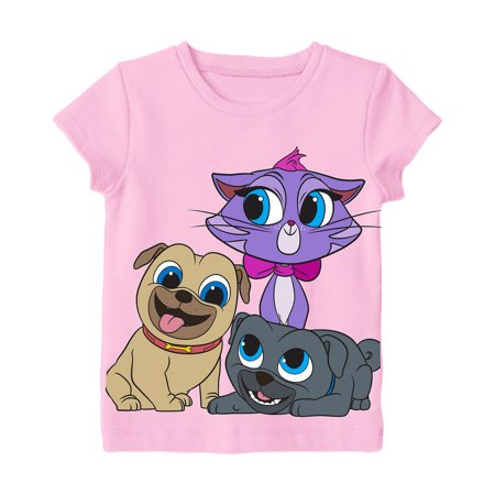 0726d4fa4 Disney - Disney Little Girls' Toddler Puppy Dog Pals Group Shot Tee, Pink -  Walmart.com