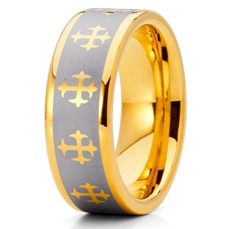 Tungsten Wedding Band 18K Yellow Gold Tungsten Ring Cross Christian Tungsten Carbide Ring Silver Brush Ring Comfort Fit Christian Cross Wedding Band