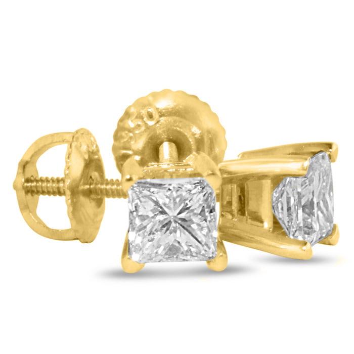 SuperJeweler 1 3/4ct Princess Diamond Stud Earrings In 14...