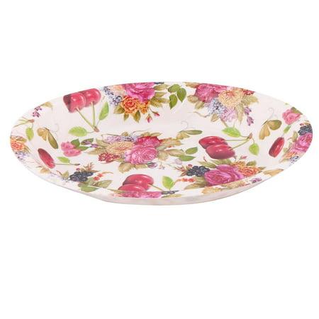 - Home Plastic Flower Pattern Fruit Vegetable Dispenser Plate Tray Multicolor