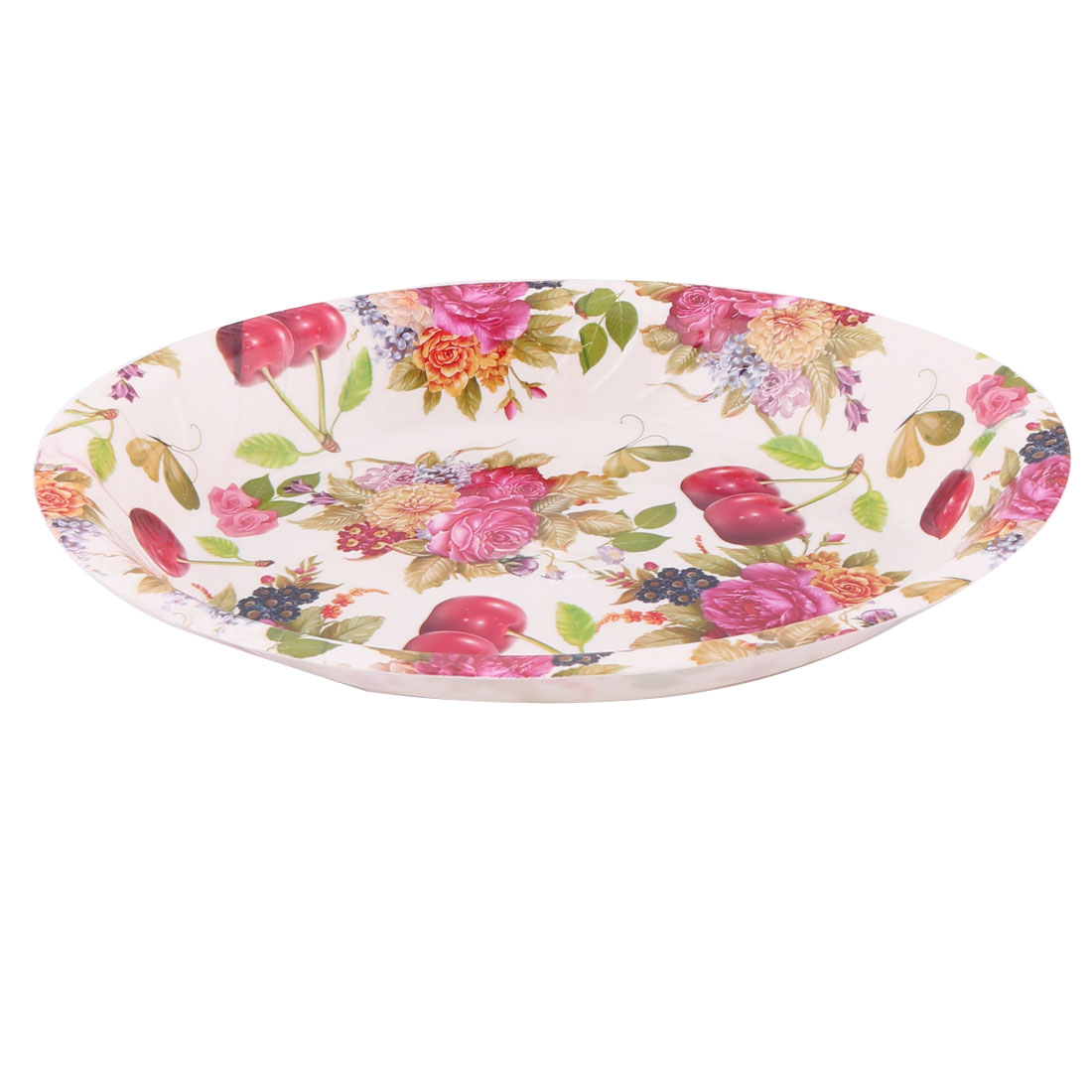 Home Plastic Flower Pattern Fruit Vegetable Dispenser Plate Tray Multicolor
