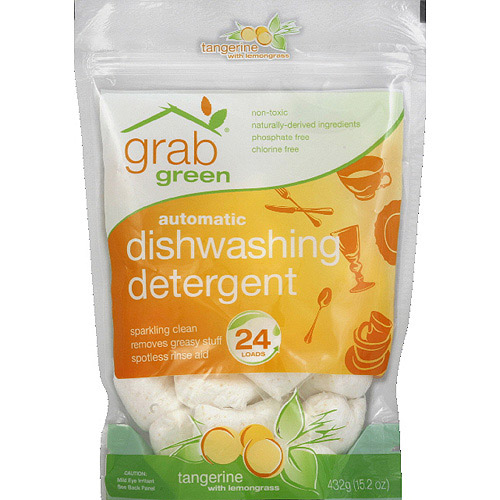 GrabGreen Tangerine with Lemongrass Automatic Dishwashing Detergent, 15.2 oz, (Pack of 6)