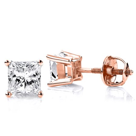 Rose Cut Diamond Jewelry (Ladies 14k Princess Cut Natural 0.25 Ctw Diamond Stud Earrings For Her (Rose Gold))