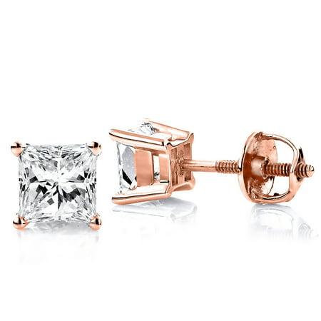 Ladies 14k Princess Cut Natural 0.25 Ctw Diamond Stud Earrings For Her (Rose (Ctw Princess Cut Diamond Stud)