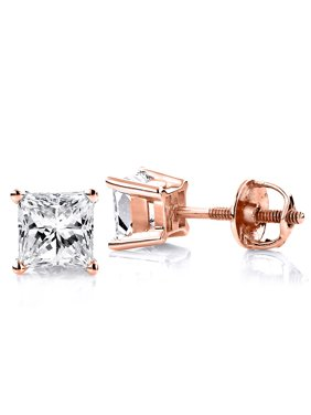 ba693426aa8754 Product Image Ladies 14k Princess Cut Natural 0.25 Ctw Diamond Stud Earrings  For Her (Rose Gold)