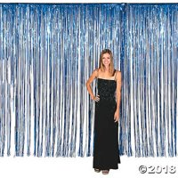 Large Blue Foil Fringe Door Curtain