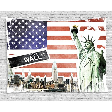 American Flag Decor Tapestry, NYC Collage with Famous Monuments Wall Street and Manhattan Urban Display, Wall Hanging for Bedroom Living Room Dorm Decor, 60W X 40L Inches, Multi, by Ambesonne](Halloween Displays Nyc)