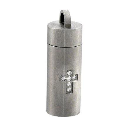 Stainless Steel Rhinestone Cross Cylinder Stash Pendant Pill Case Vial - image 2 of 2
