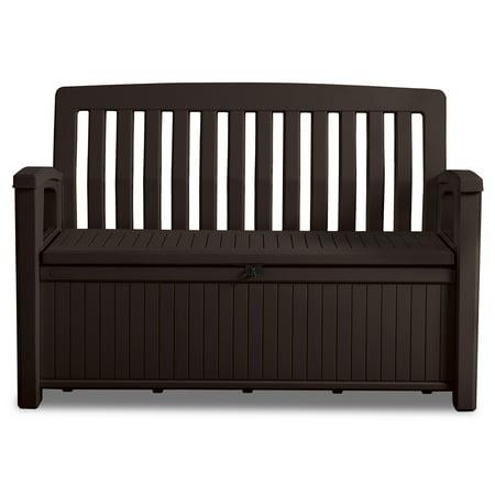 Keter 60 Gallon Resin Storage Bench Plastic Patio Seating Brown