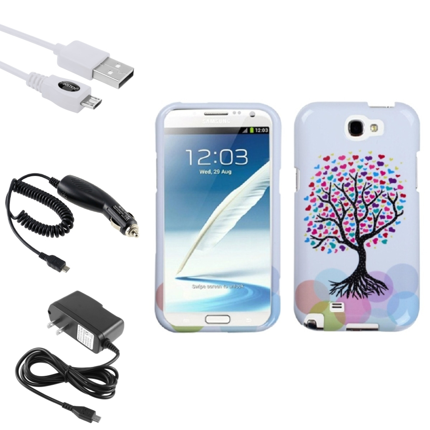 Insten Love Tree Hard Case DC Home Charger Cable For Samsung Galaxy Note 2 II