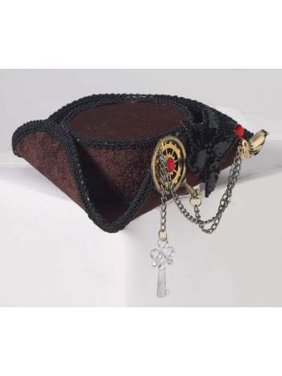 Womens Buccaneer Beauty Steampunk Brown Mini Tricorn Pirate Hat With Gears