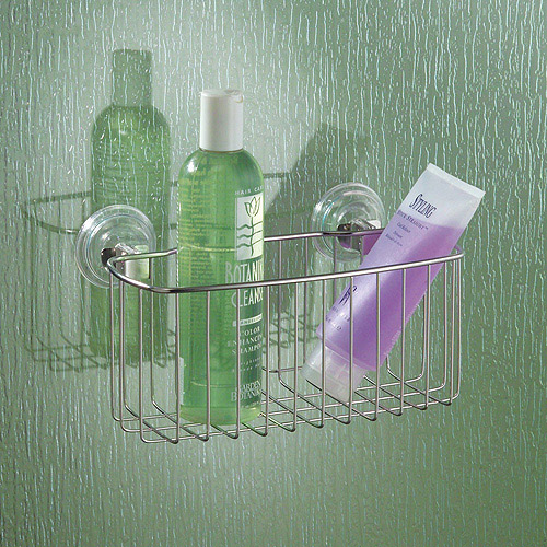 InterDesign Reo Power Lock Suction Bathroom Shower Caddy Basket for Shampoo, Conditioner,... by INTERDESIGN