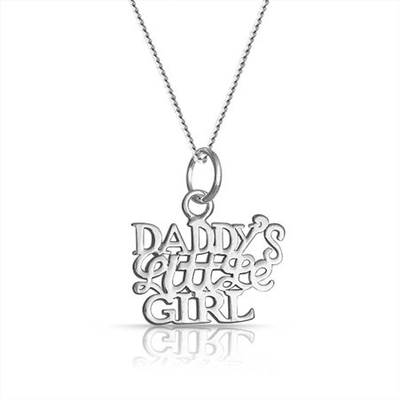 Daddys Little Girl Word Name Plate Style Pendant Necklace For Women For Daughter 925 Sterling Silver](Little Girl Boutique Names)