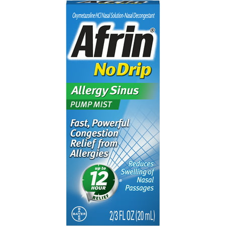 Afrin No Drip Allergy Sinus 12 Hour Nasal Decongestant Pump Mist-15mL