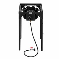 Akoyovwerve Portable Propane Camping Stove Single Burner 75000-BTU Outdoor Camp Stove High Pressure Propane Gas Cooker Portable Cast Iron Patio Cooking Burner