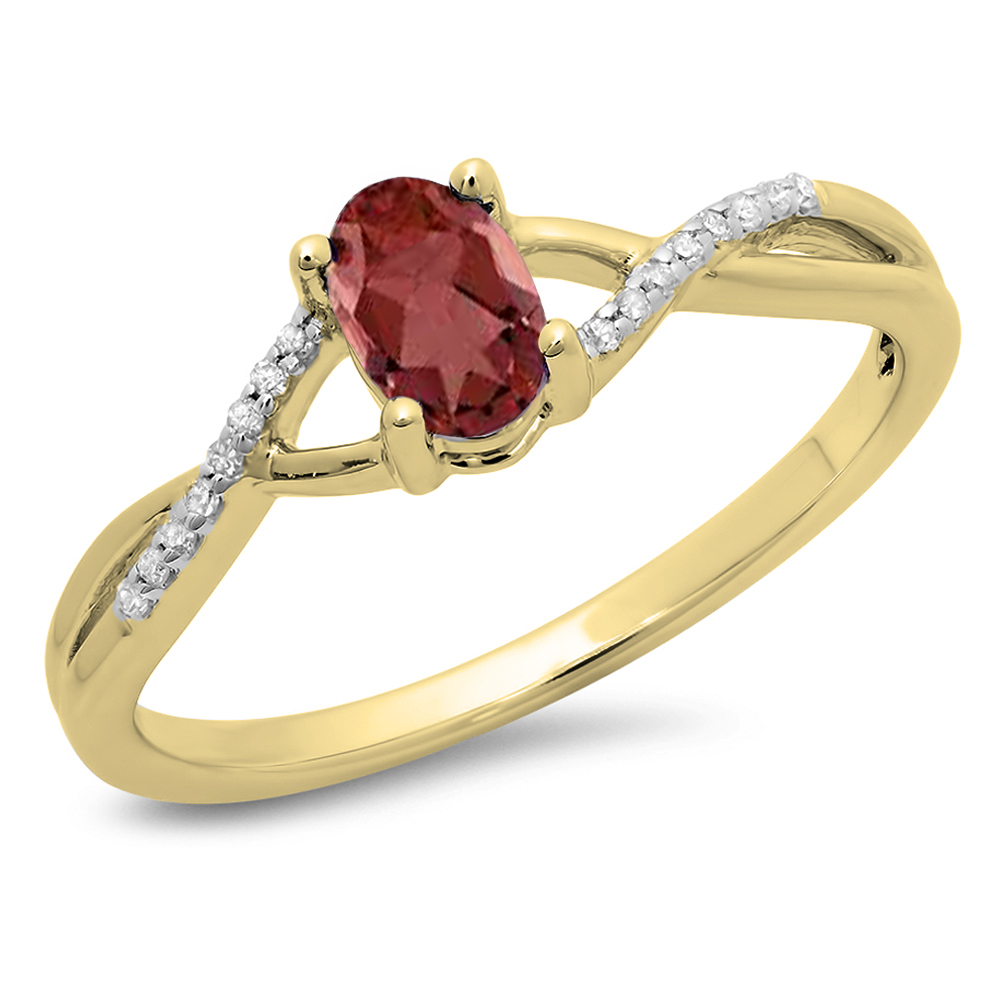 Dazzling Rock 0.50 Carat (ctw) 18K Yellow Gold Oval Cut Garnet & Round Cut White Diamond Ladies Bridal Swirl Split Shank Engagement Pr