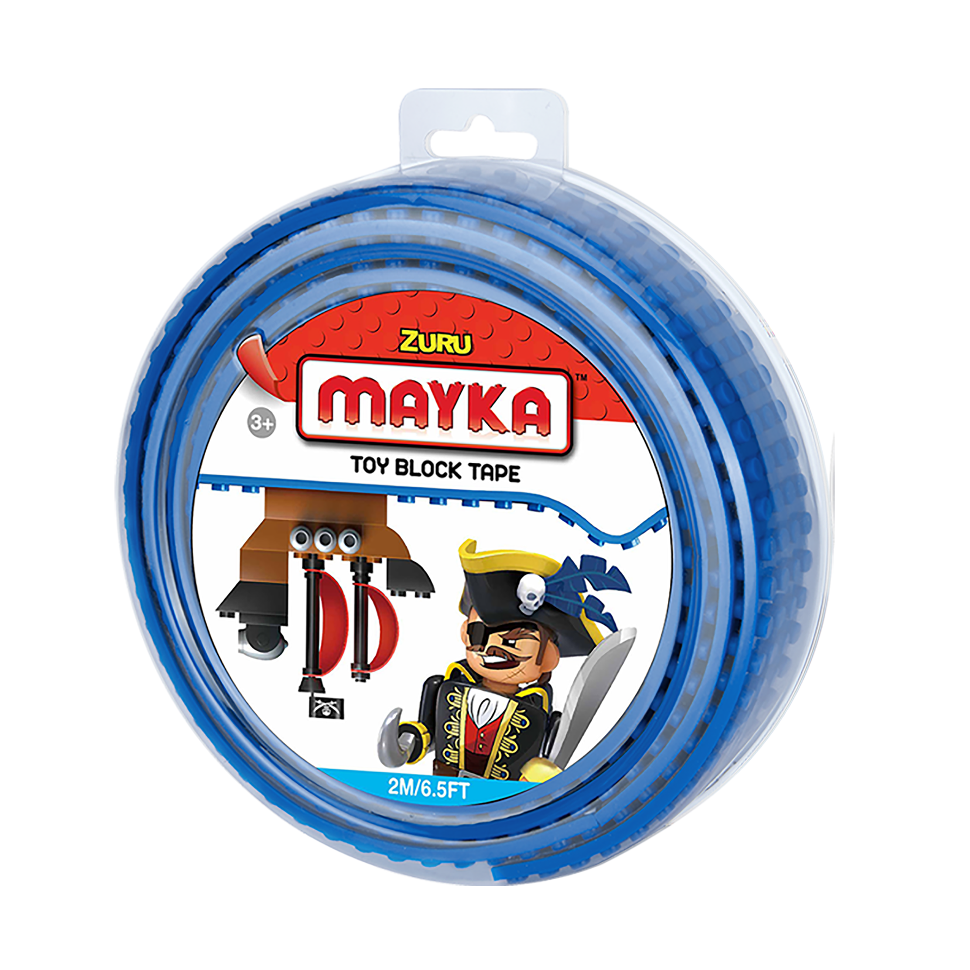 Mayka Toy Block Tape, 6.5ft 4-stud (Blue)