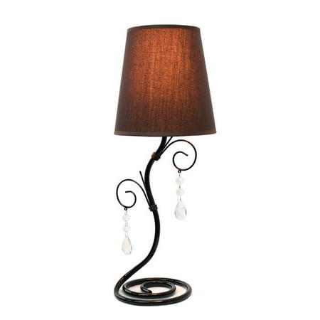 Twisted Vine Table Lamp with Fabric Shade and Hanging Crystals