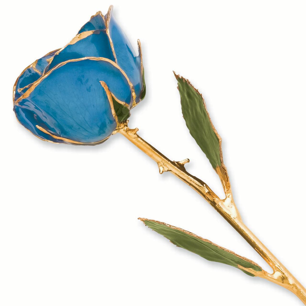 Lacquer Dipped Gold Trim Blue Rose Figurine Orchid Leaf K Trimmed Keepsake Floral Home Decor Flower For Women