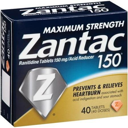 Zantac 150mg Maximum Strength Ranitidine Acid Reducer Tablets, 40ct Acid Reducer 60 Tablets