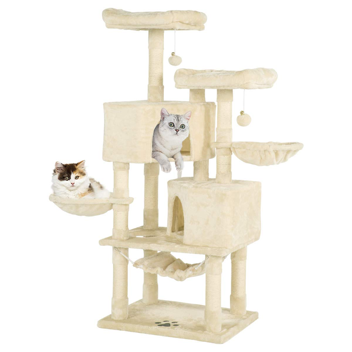 Erommy Multi Level Cat Tree Tower Condo With Cat Scratching Post Cozy Hammock Basket Hideaway House And Platforms Kitty Activity Center Kitten Play House Large Cat Tower Furniture Walmart Com Walmart Com