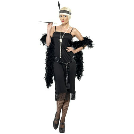 Womens 1920s Flirty Flapper Girl Black Dress With Sash And Headpiece Costume - 1920s Couple