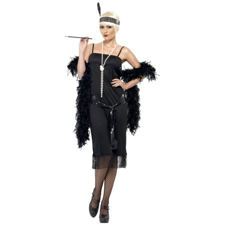 Womens 1920s Flirty Flapper Girl Black Dress With Sash And Headpiece Costume - Costumes Black Dress