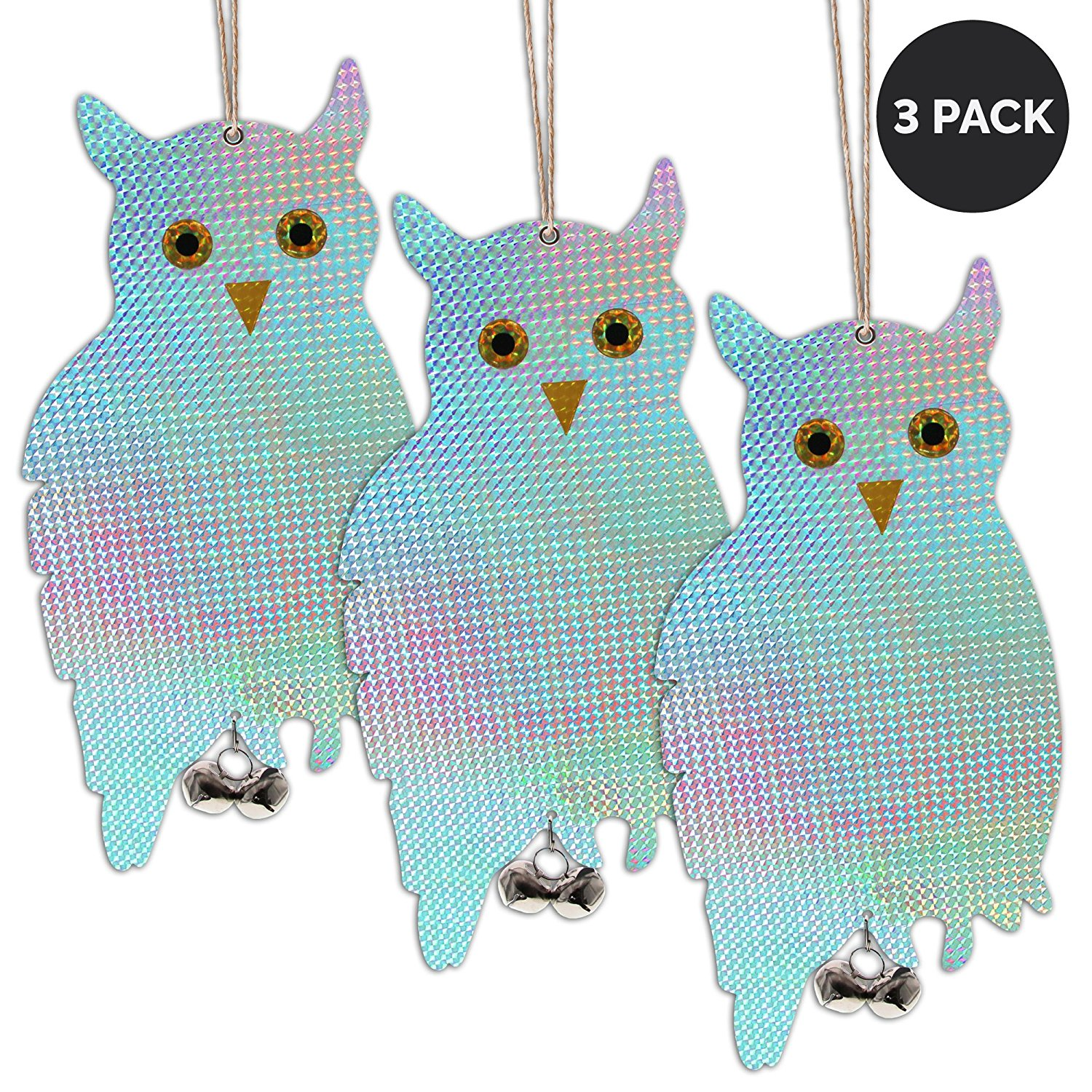 "Reflective Owl Decoy & Bird Repellent - Double-Sided 16"" Flashy Scarecrow Bird Deterrent & Wood Pecker Deterrents with Tinkling Bells (3-Pack)"
