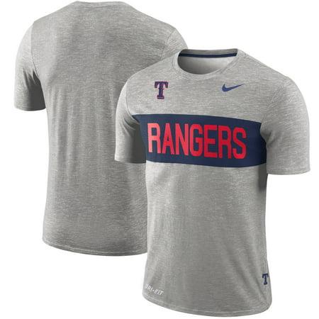 Nike Texas Shirt - Texas Rangers Nike Slub Stripe Performance T-Shirt - Gray