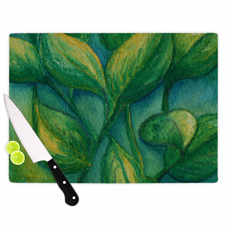 Kess InHouse  Cyndi Steen 'Beginnings' Green Nature Cutting Board