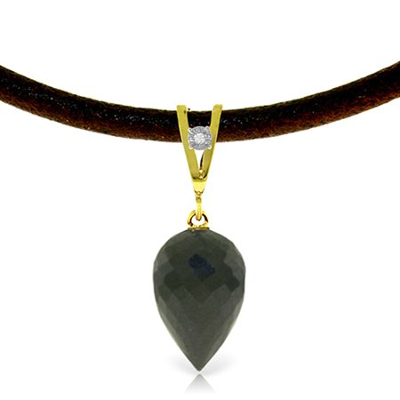 ALARRI 12.26 Carat 14K Solid Gold Leather Necklace Diamond Black Spinel with 20 Inch Chain Length.