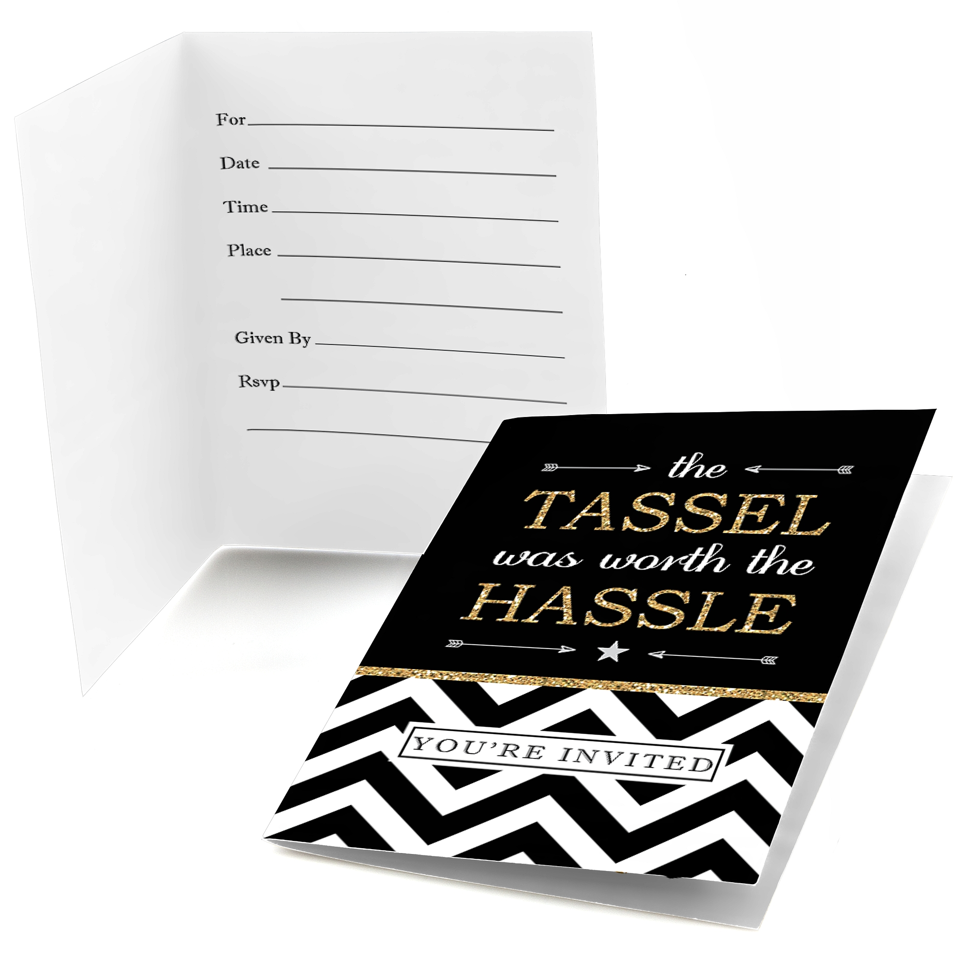 Gold Tassel Worth The Hassle - Fill In Graduation Party Invitations (8 count)