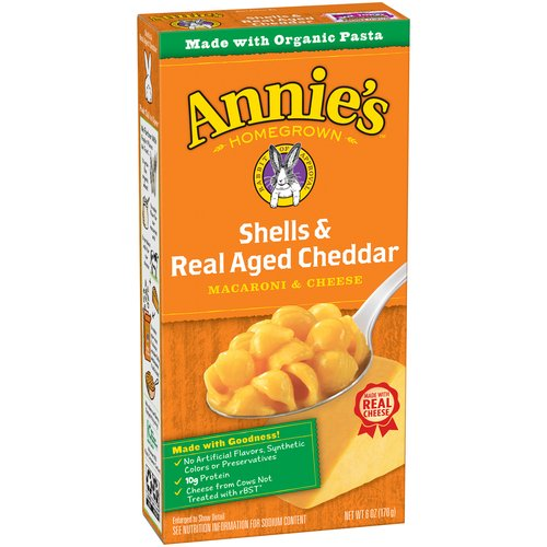 Annie's Shells & Real Aged Cheddar Macaroni & Cheese, 6 oz