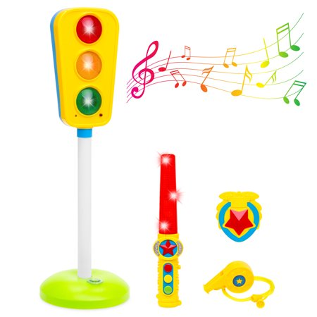 Best Choice Products Kids Toy Traffic Light with Sound, Whistle, Badge, and Wand,