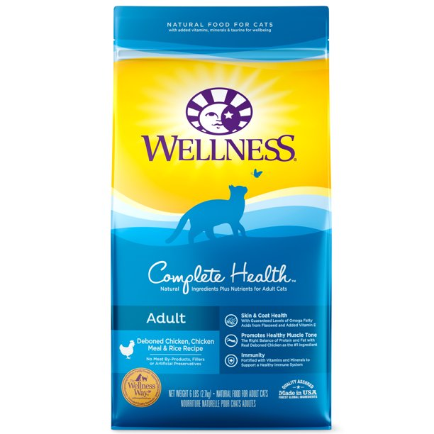 Wellness Complete Health Natural Dry Cat Food, Chicken & Chicken Recipe, 6-Pound Bag