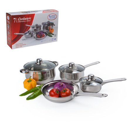 Alpine cuisine 7 piece belly shaped stainless steel for Alpine cuisine ceramic cookware