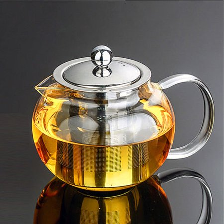Moaere Glass Teapot Set Loose Leaf Tea Pot Good Kettles Clear Cup with Strainer Infuser and Lid ()