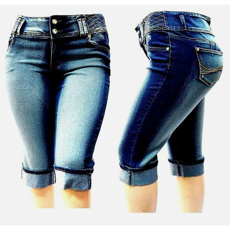 Jack David Women's Plus Size Blue Denim Jeans Capri Pants Stretch HI Waist (JD-CB-39522) (Plus Size Denim Capris)