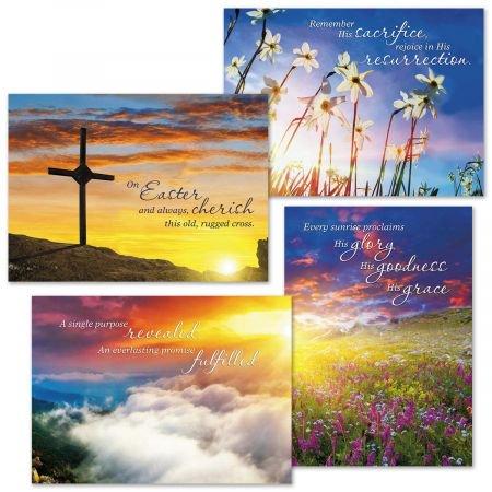 Sunrise Easter Faith Cards - Set of 8 (2 of - Christian Easter Cards