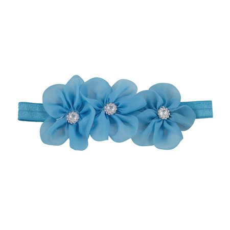 Handmade Baby Girls Rhinestone Organza Flowers Trio Elastic Headband (2 Pack, Blue)