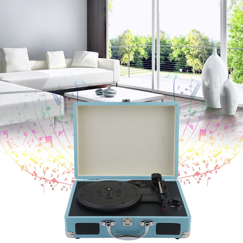 Hot Sale Briefcase Style Portable Vinyl Record Player 3-Speed Stereo Turntable Speaker(Sky Blue)
