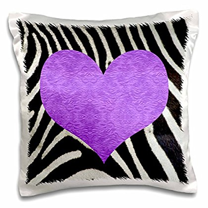 3dRose Punk Rockabilly Zebra Animal Stripe Purple Heart Print, Pillow Case, 16 by 16-inch