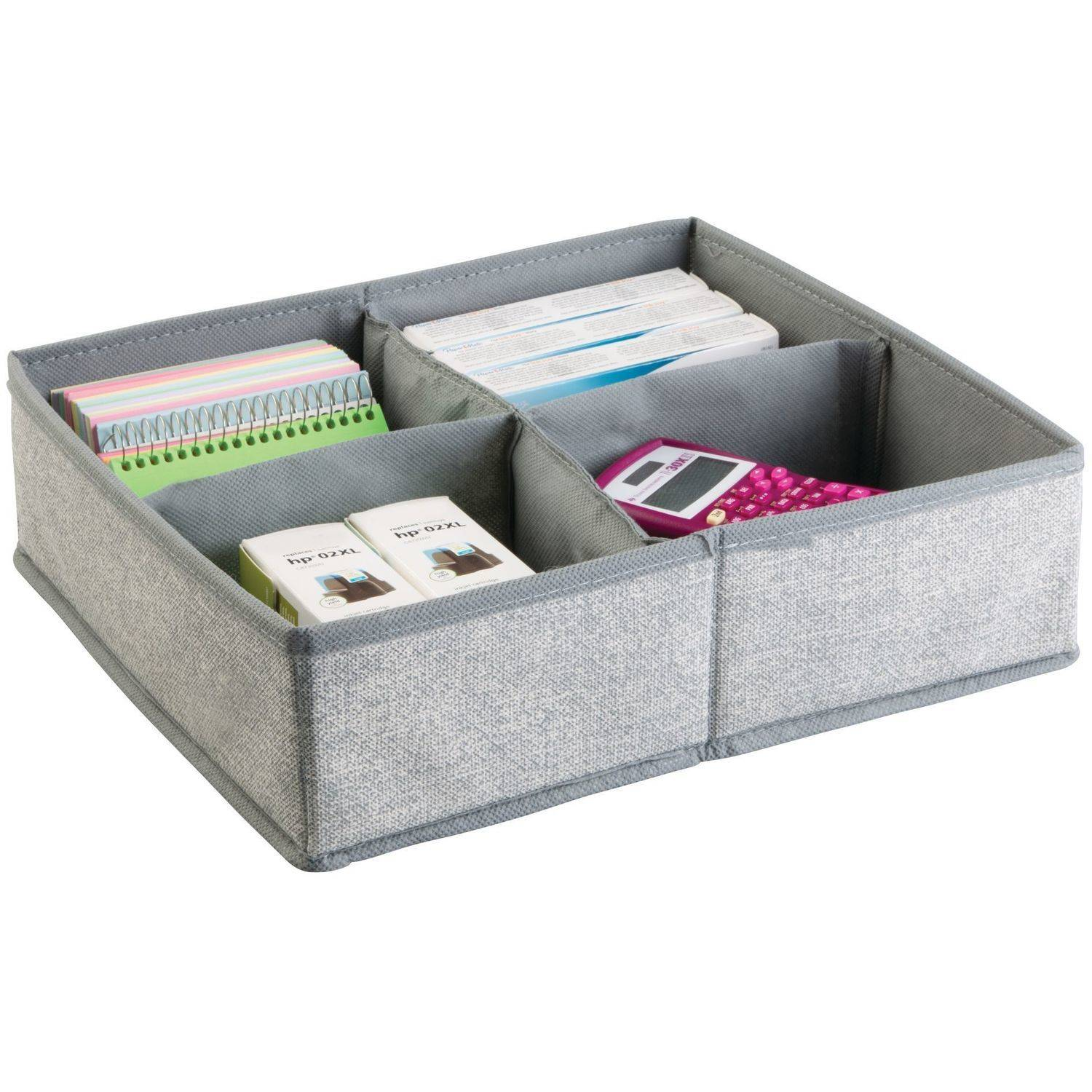 InterDesign Aldo Drawer Organizer, 4S, Large, Grey