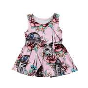Cute Newborn Kids Baby Girl Princess Star Wars Dress Summer Sundress Clothes US