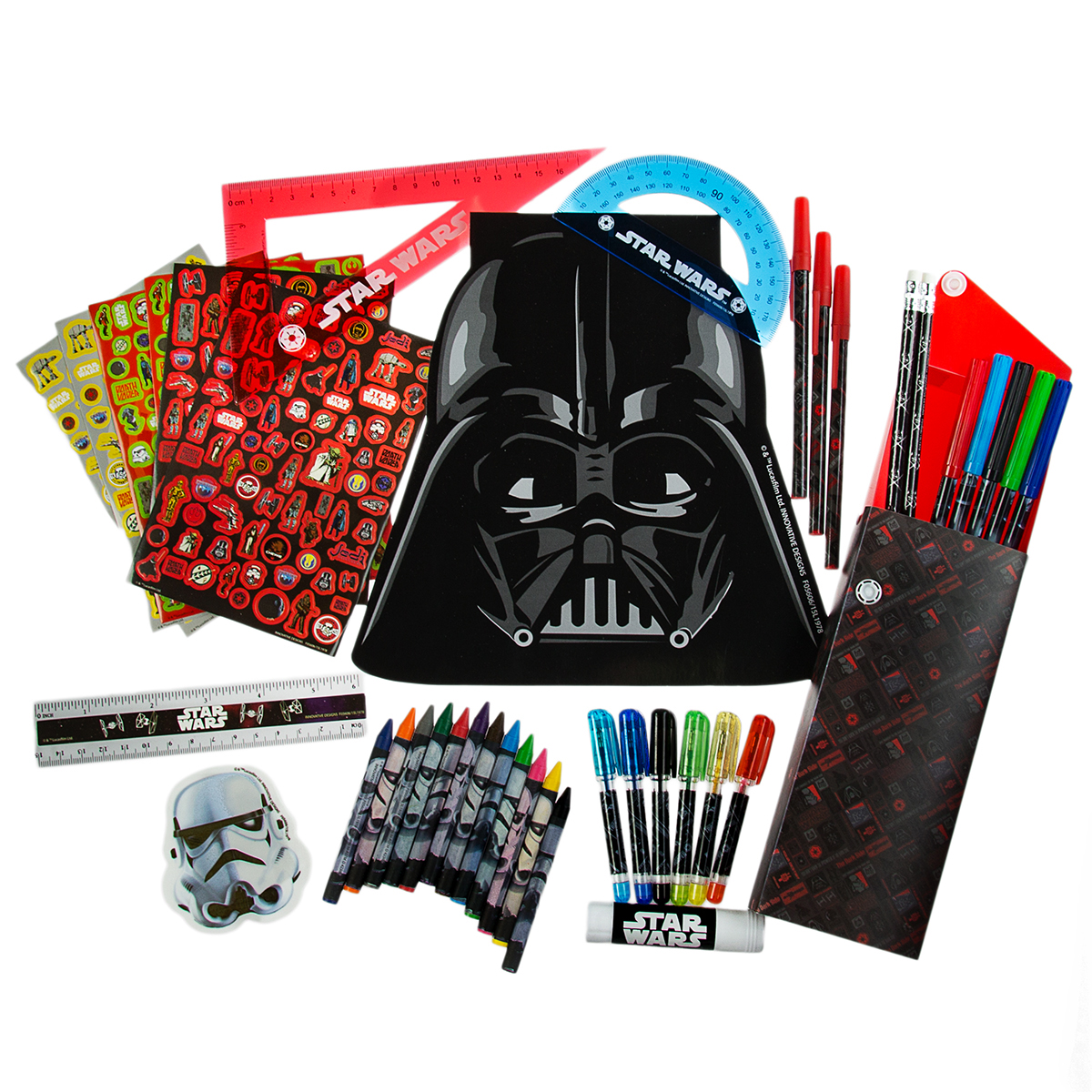 200pc Star Wars Ultimate Art Set Kids Creative Kit Markers Pens Pencils Notepad by