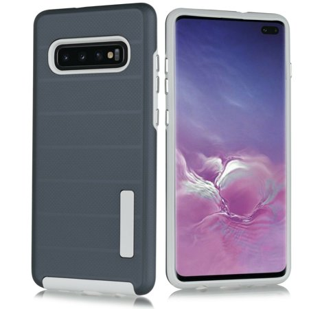 "for 6.4"" Samsung Galaxy S10 Plus Deluxe Brushed Metal Slip Resistant Hybrid Slim Hard Back Dual Layer Protective Raised Bevel Design Aim At All Buttons Sockets Shock Bumper Impact Case [Navyblue]"